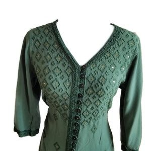 Soft Surroundings Dresses - Soft Surroundings Green Buttonup Embroidered Dress